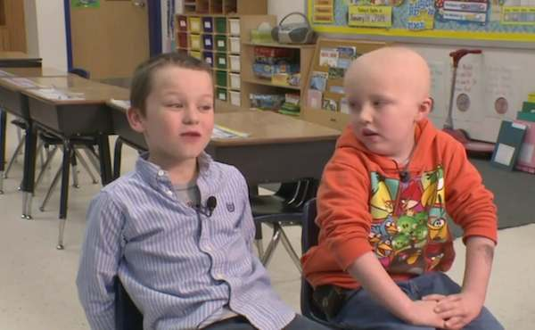 First grader shaves head to make his friend feel better about going through cancer treatments and to make you feel suddenly emotional.