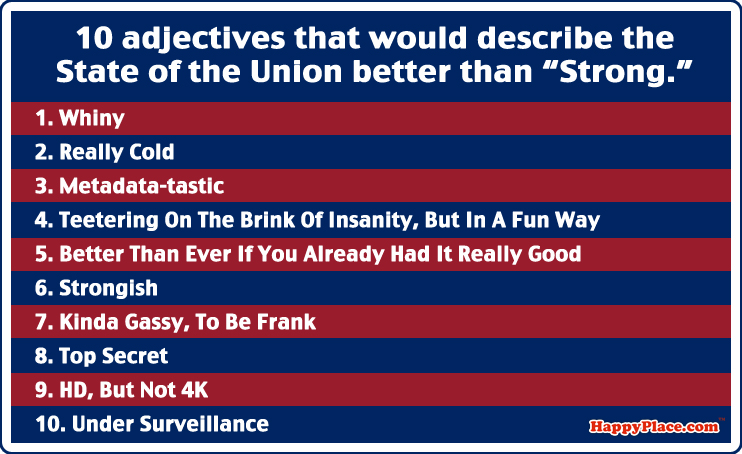 """10 adjectives that would describe the State of the Union better than """"Strong."""""""