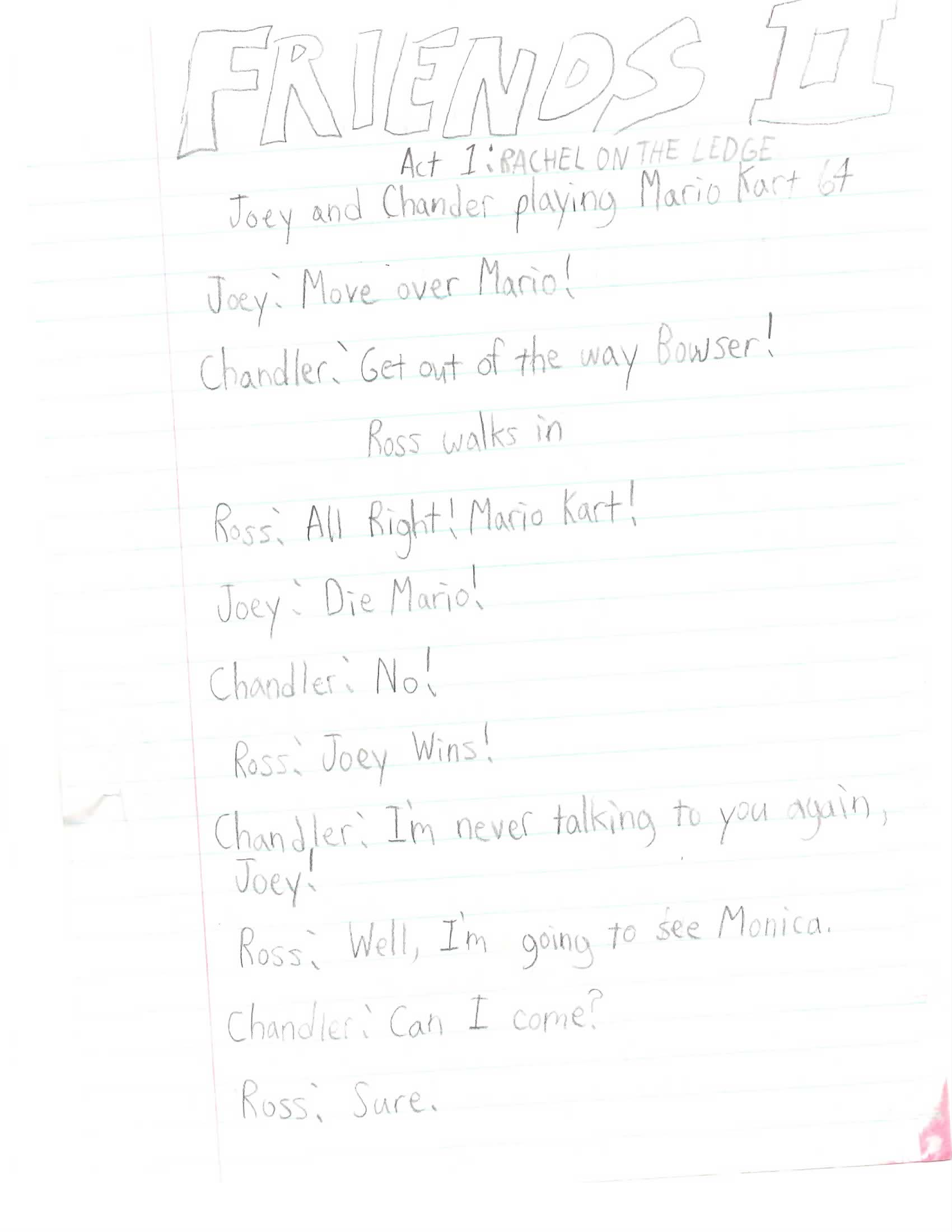 An 8-year-old kid wrote a spec script for 'Friends,' and it features a monkey purse-snatcher and a giant rolling donut.