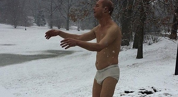 This statue of a man sleepwalking in his underwear is creeping out some of the students at this women's college.