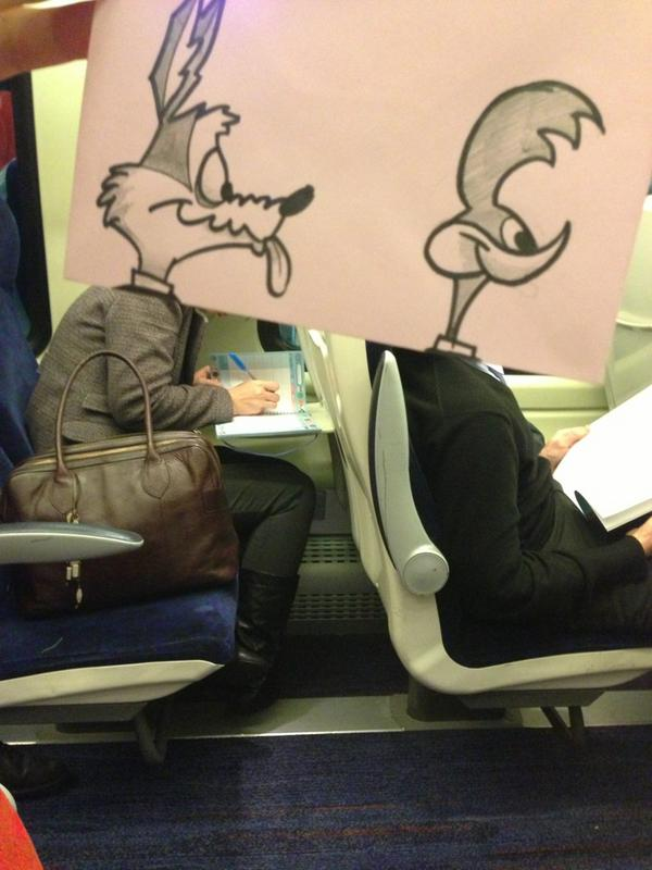 One artist found an amazing way to pass time while riding the train.