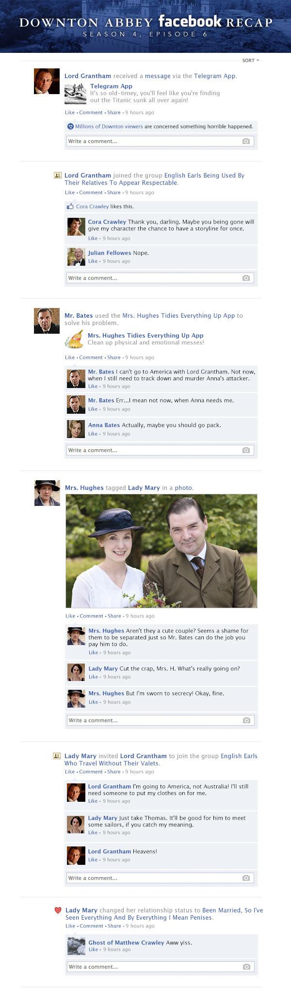 If Downton Abbey took place entirely on Facebook - Season 4, Episode 6 Recap.
