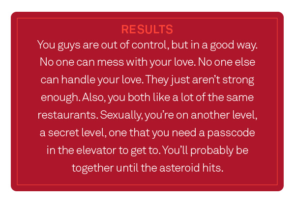 Quiz: Are you and your significant other right for each other? - Results
