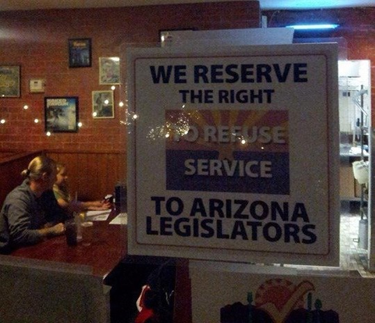Arizona restaurant responds perfectly to state's new anti-gay religious discrimination laws.