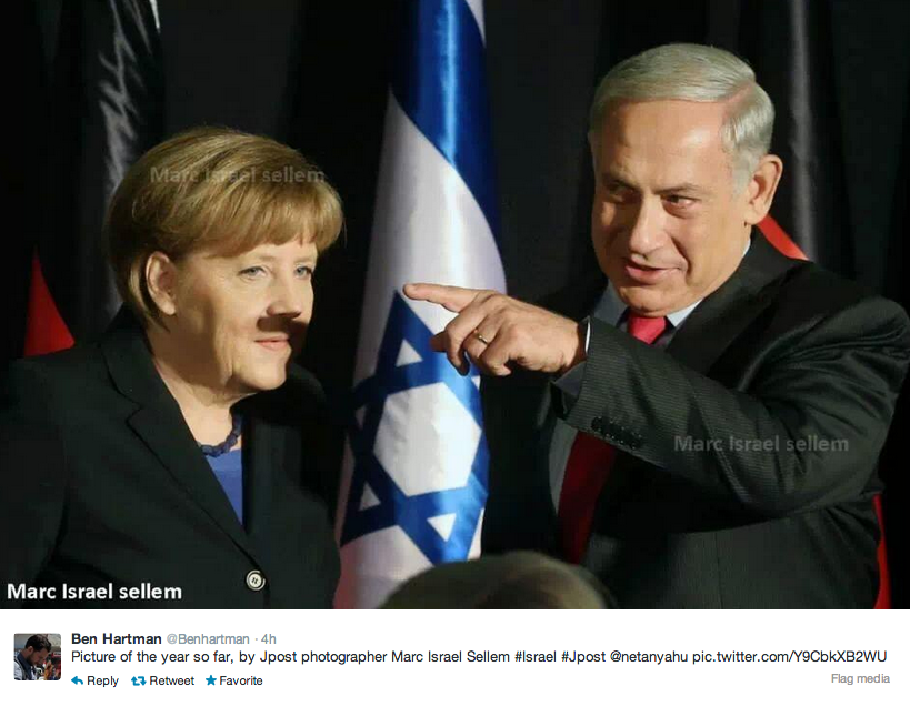 The Israeli prime minister and the German chancellor got together. Accidentally offensive shadow puppetry occurred.
