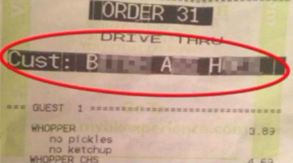 "Somebody's grandmother got called a ""bitch ass ho"" on her Burger King receipt."