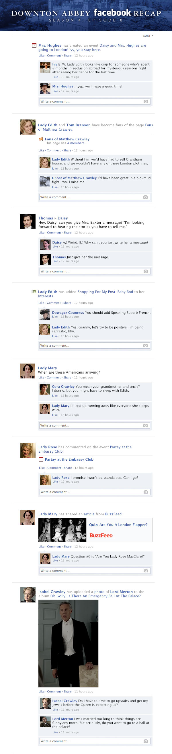 If 'Downton Abbey' took place entirely on Facebook - Season 4 Finale, 'The London Season' Recap