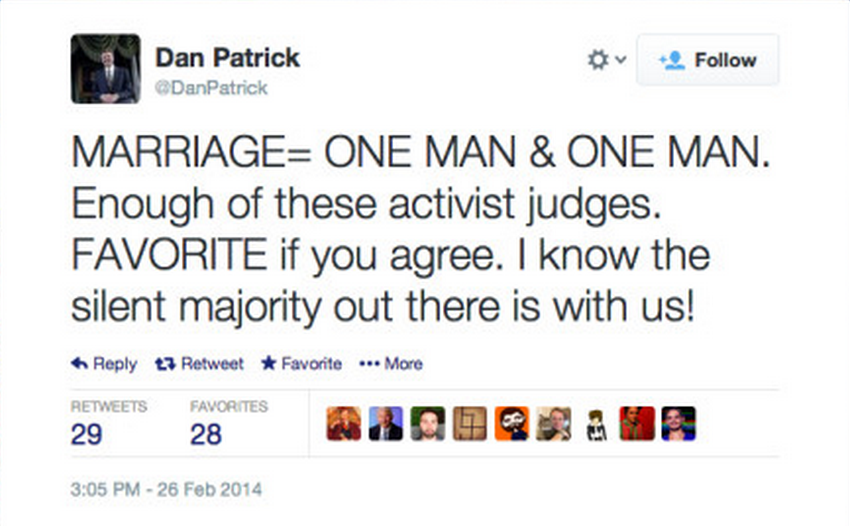 Texas Republican State Senator sent out a hilariously Freudian tweet in support of gay marriage.