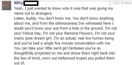 A fedora-wearing creep tracked a Hot Topic employee down on Facebook. Her takedown of him is a triumph for nerdy girls everywhere.