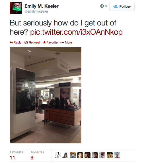 A woman got locked inside a mall after closing. She live-tweeted the whole thing.