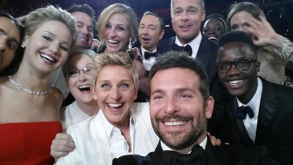 The most celebrities ever squeezed into a single selfie. UPDATE: It's the most retweeted tweet ever.