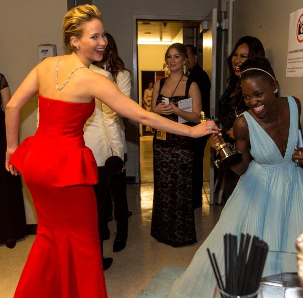 Jennifer Lawrence tried to steal Lupita Nyong'o's Oscar last night.