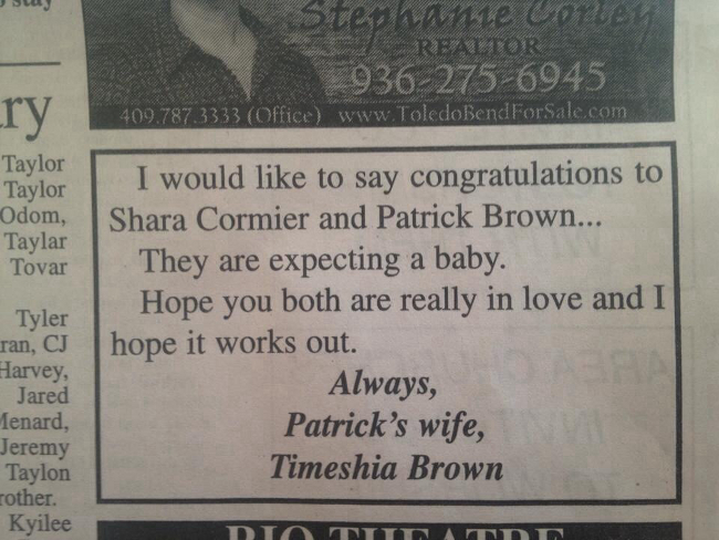A woman took out a newspaper ad to congratulate her cheating husband and his expecting girlfriend.