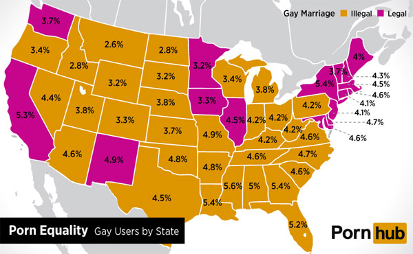 How much gay porn is your state consuming? This map from PornHub will tell you.