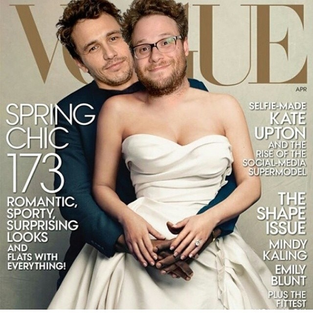 We're offering $10,000* for unretouched images of Seth Rogen and James Franco's cover of Vogue.