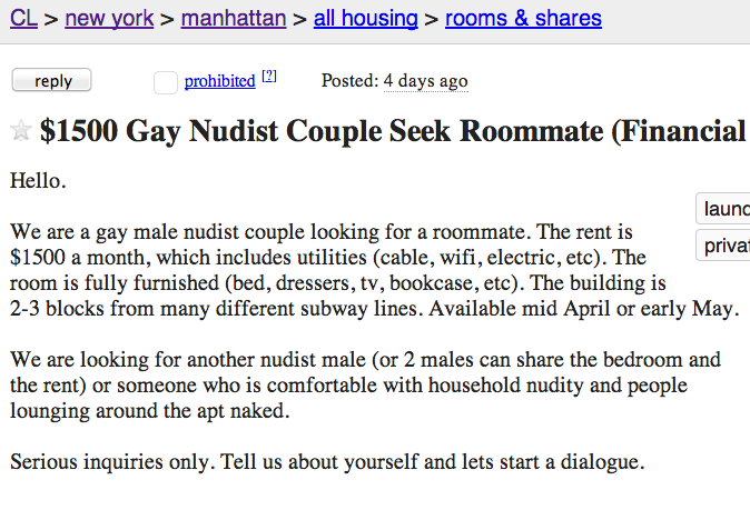 Nudist roommate craigslist