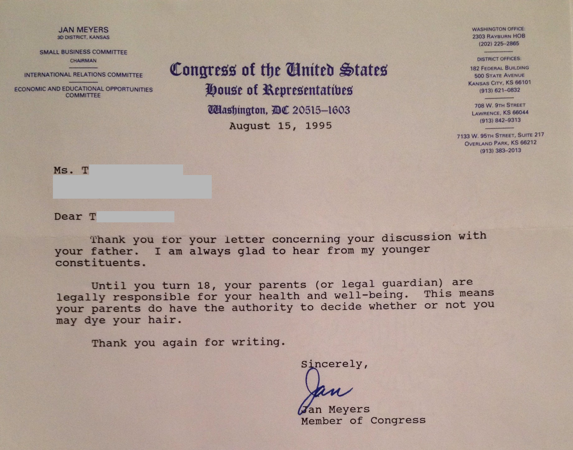 20 years ago, a girl wrote to Congress to complain about her parents and got this in return.