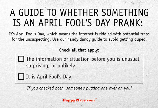 A guide to whether something is an April Fool's Day prank.