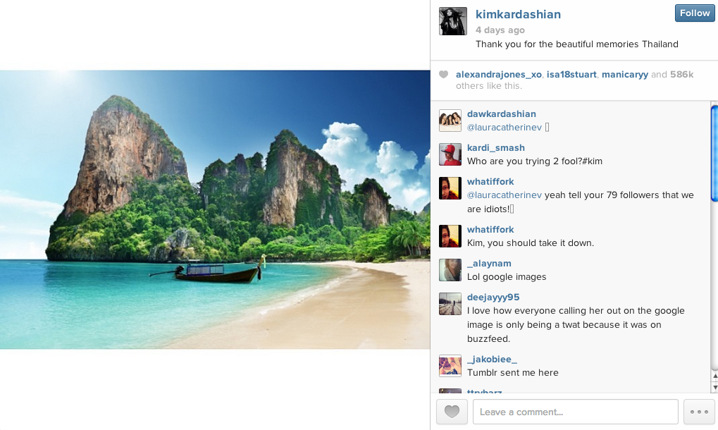Kim Kardashian Instagrammed a photo from her Thailand vacation. She found it by googling Thailand.