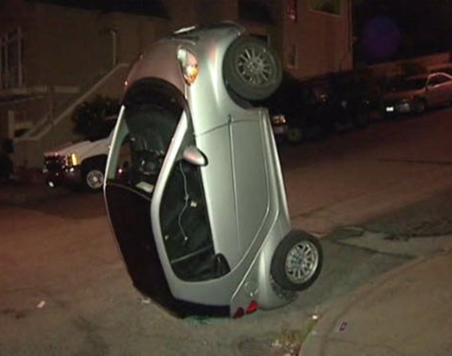 People are tipping Smart Cars onto their rears in San Francisco for unknown reasons.