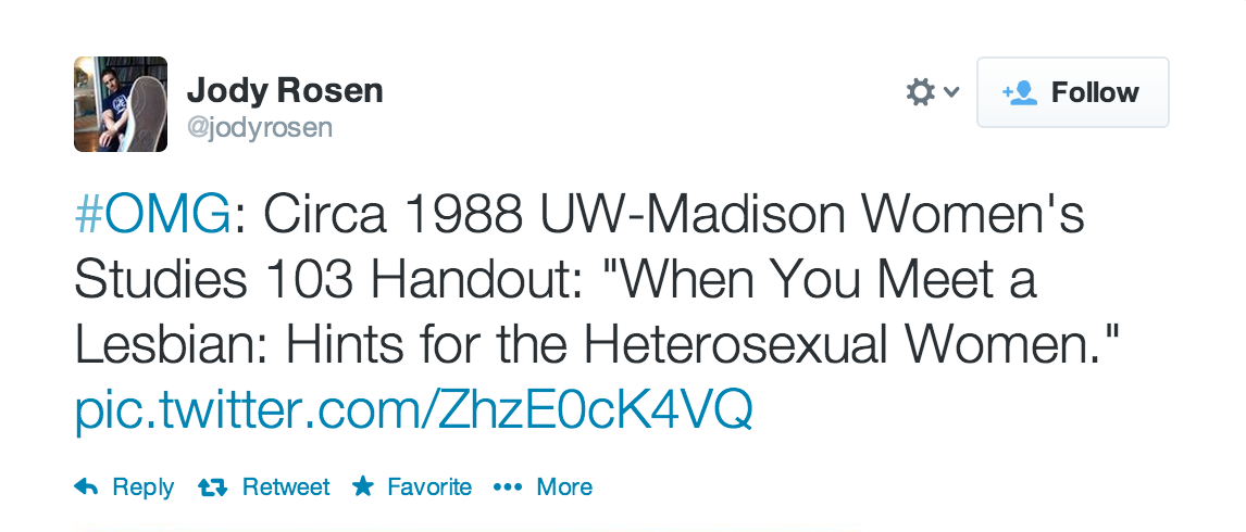 This Women's Studies class handout will teach you how to deal with a lesbian encounter in 1988.