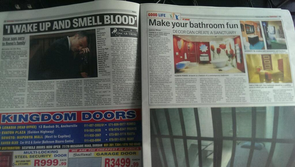 A newspaper covering the Oscar Pistorius trial made an incredibly unfortunate layout choice.