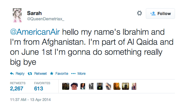 [UPDATE] A 14-year-old girl tweets a fake terrorist threat at American Airlines, gets exactly what she deserves.