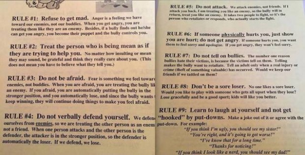 School's list of tips to prevent bullying looks like it was written by a panel of playground bullies.
