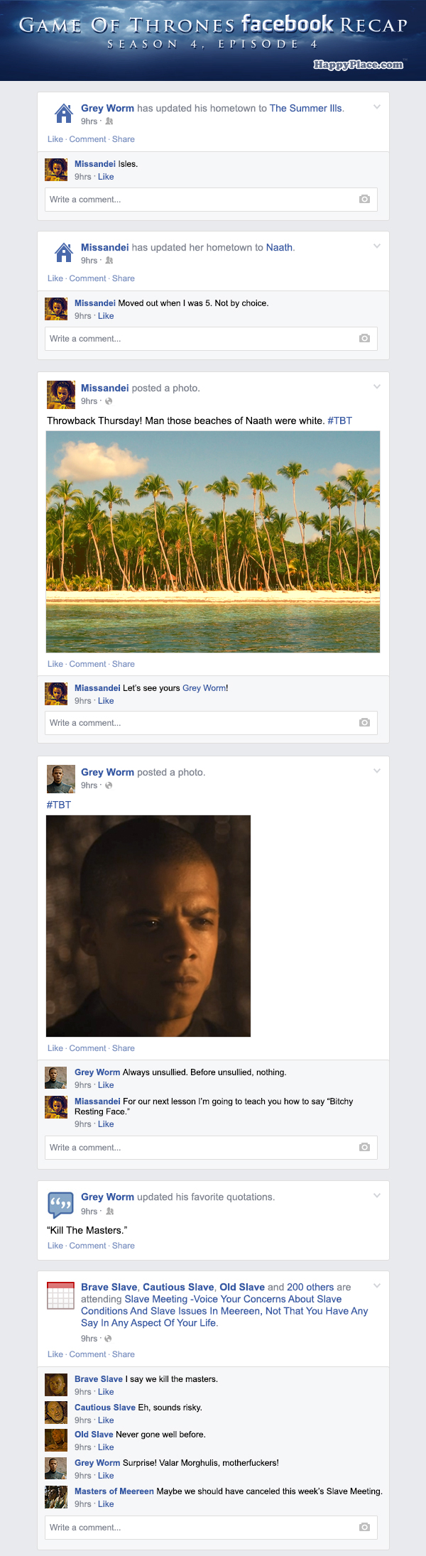 If Game of Thrones took place entirely on Facebook - Season 4, Episode 4.