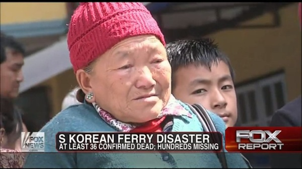 Fox News used b-roll of sad Asian people who clearly aren't Korean in coverage of the ferry disaster.