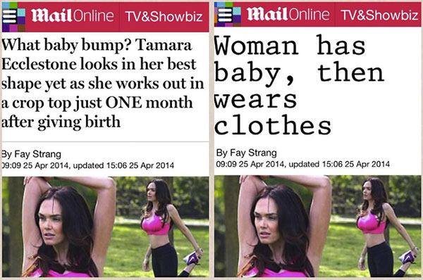 This is what tabloid headlines would look like if they weren't allowed to be sexist.