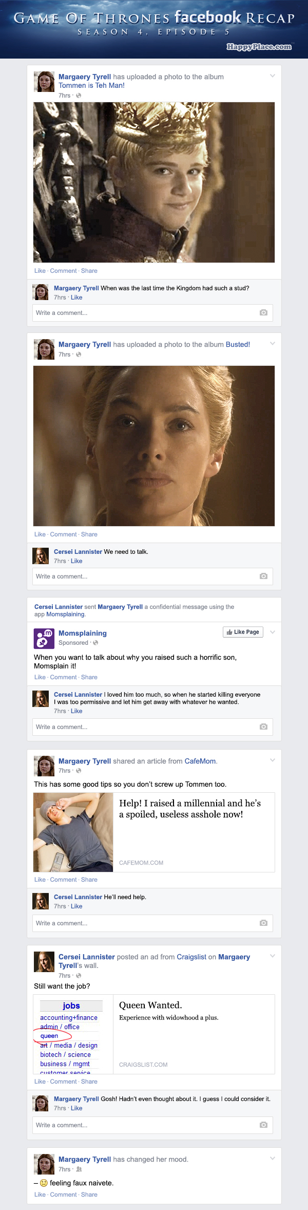 If Game of Thrones took place entirely on Facebook - Season 4, Episode 5.