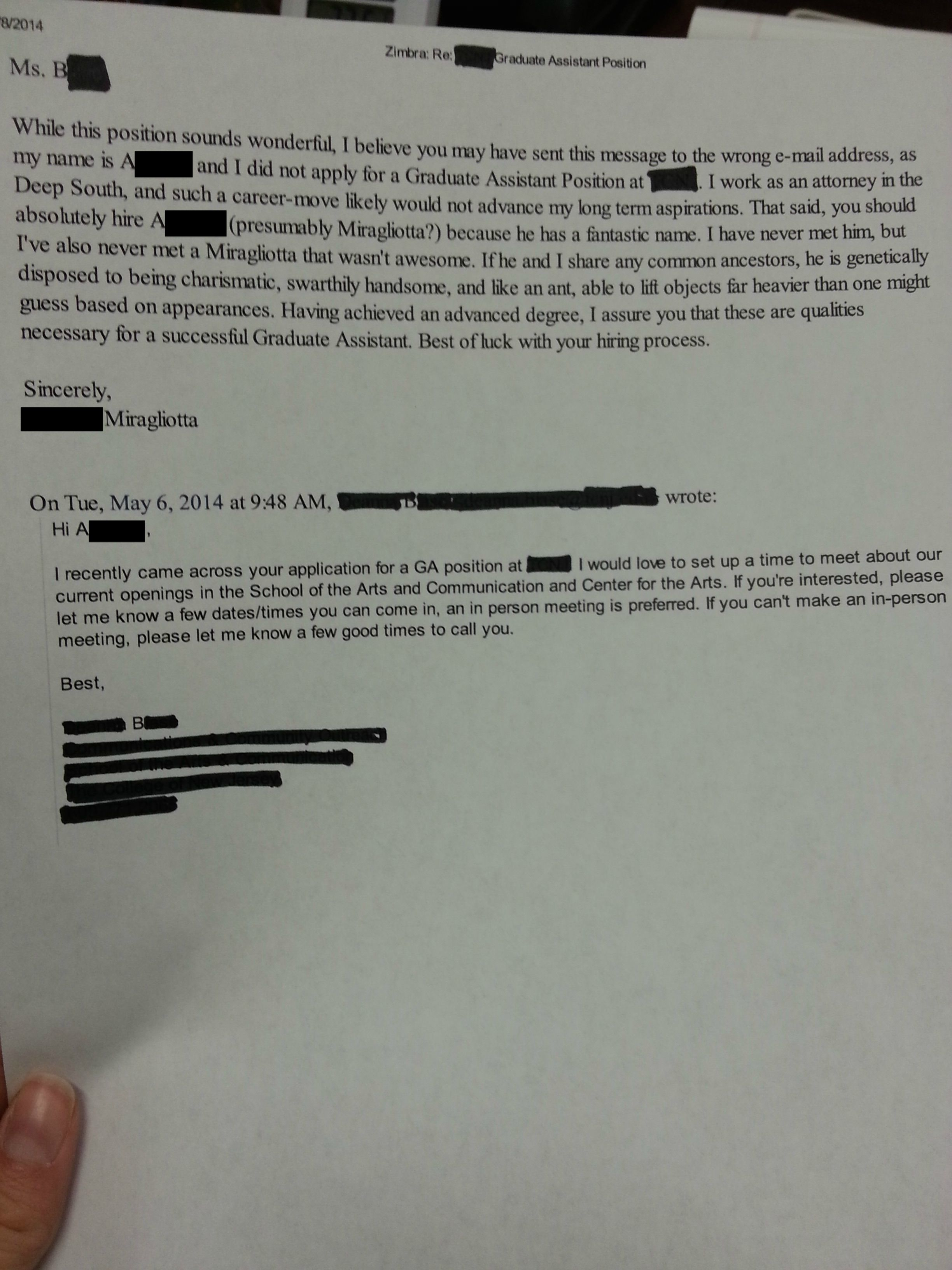 A Job Offer Letter Was Sent To The Wrong Guy Judging By His Awesome