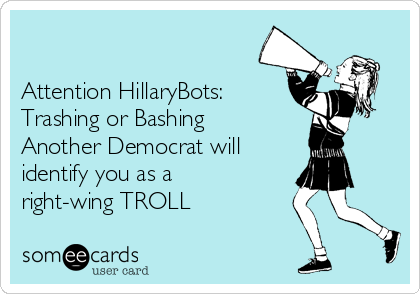 Attention HillaryBots: Trashing or Bashing Another Democrat will identify you as a right-wing TROLL
