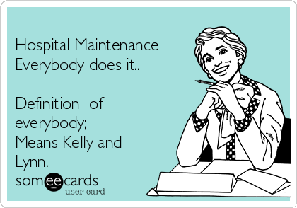 Hospital Maintenance  Everybody does it..  Definition  of everybody;  Means Kelly and Lynn.