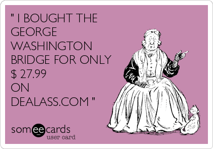 """"""" I BOUGHT THE GEORGE WASHINGTON BRIDGE FOR ONLY $ 27.99 ON DEALASS.COM """""""
