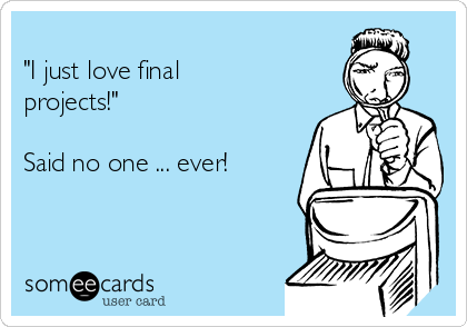 """""""I just love final projects!""""   Said no one ... ever!"""
