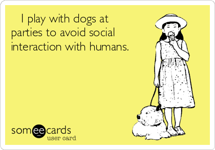 I play with dogs at parties to avoid social interaction with humans.