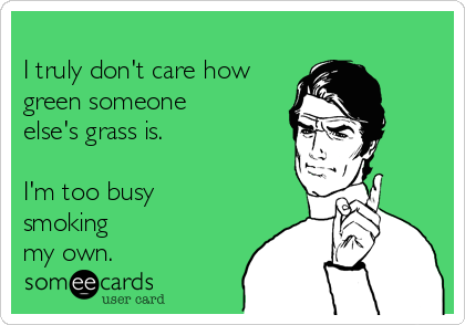 I truly don't care how green someone else's grass is.  I'm too busy smoking my own.
