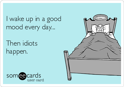 I wake up in a good mood every day...  Then idiots happen.