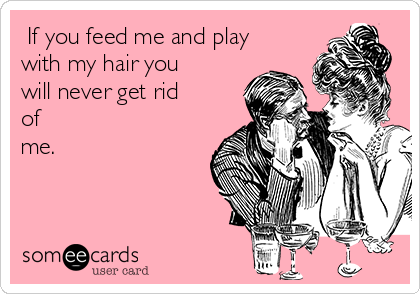 If you feed me and play with my hair you will never get rid of me.