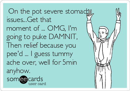 On the pot severe stomach issues...Get that moment of ... OMG, I'm going to puke DAMNIT, Then relief because you pee'd ... I guess tummy ache over, well for 5min  anyhow.