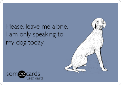 Please, leave me alone.   I am only speaking to my dog today.