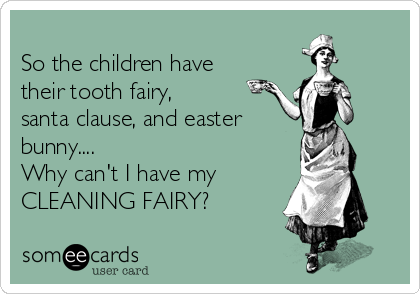 So the children have their tooth fairy, santa clause, and easter bunny.... Why can't I have my  CLEANING FAIRY?