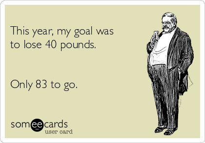 This year, my goal was to lose 40 pounds.   Only 83 to go.