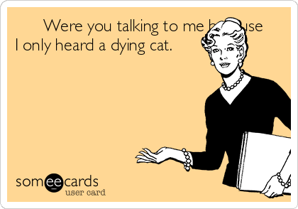 Were you talking to me because I only heard a dying cat.
