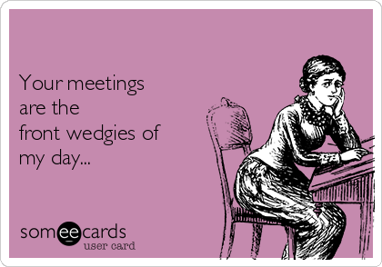 Your meetings are the  front wedgies of my day...