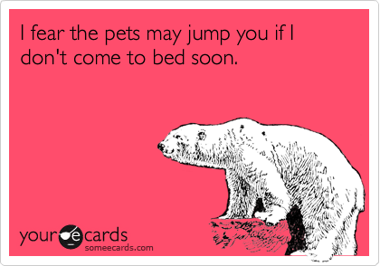 I fear the pets may jump you if I don't come to bed soon.