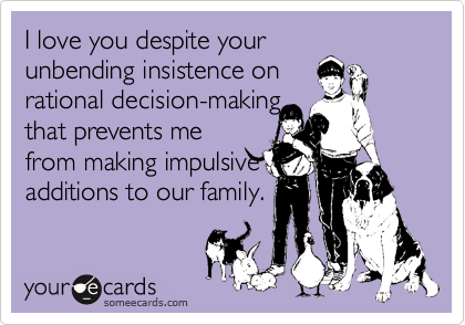 I love you despite your unbending insistence on rational decision-making that prevents me from making impulsive additions to our family.