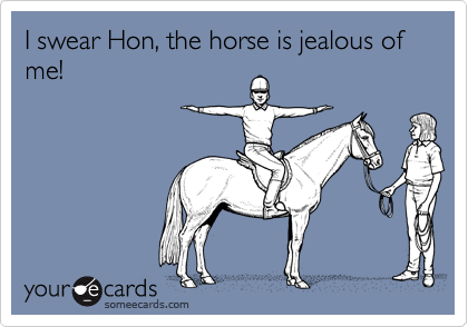 I swear Hon, the horse is jealous of me!